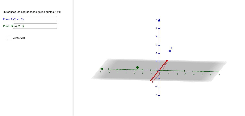 Introduce las coordenadas de los puntos A y B para poder calcular la distancia entre ellos. Dando a las diferentes casillas podrás ver cómo calcular esa distancia y la solución.  Presiona Intro para comenzar la actividad