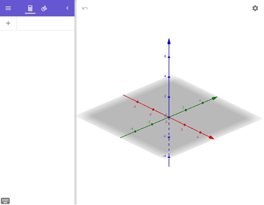 """Fenêtre Calculatrice 3D pour travailler avec les solides Tapez """"Entrée"""" pour démarrer l'activité"""
