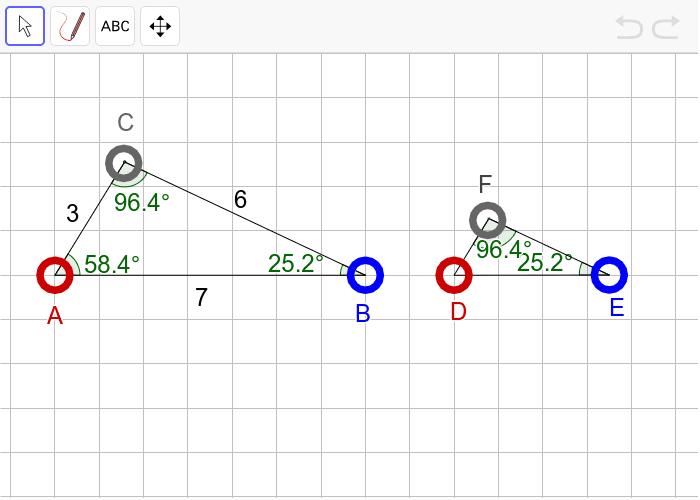 """과제5 다음 두 삼각형이 """"확대 또는 축소하여 합동(닮음)""""인지 판단하고, 그 이유를 설명하시오. 활동을 시작하려면 엔터키를 누르세요."""