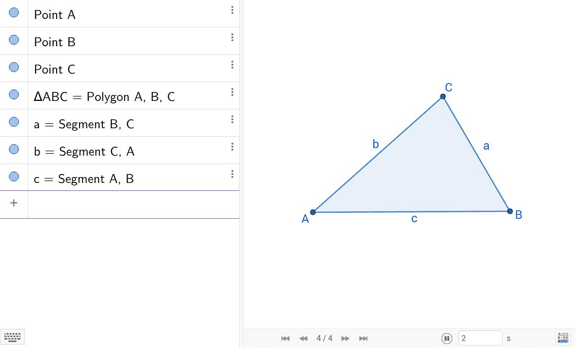 Konstruiere den Umkreis zum Dreieck ABC, also den Kreis, auf dem alle Eckpunkte des Dreiecks liegen. Nutze dazu die Konstruktionsbeschreibung, gib also alle Kontruktionsschritte links in die Eingabezeile als Befehl ein. Drücke die Eingabetaste um die Aktivität zu starten