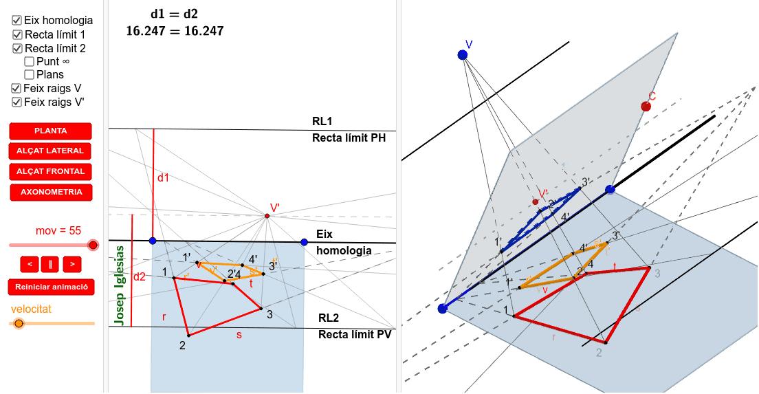 Quan fem l'abatiment del pla d'intersecció sobre la base de la piràmide.