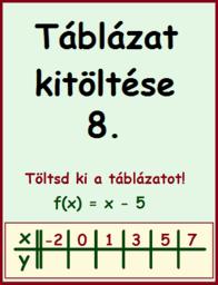 lineáris függvény - táblázat kitöltése 8.