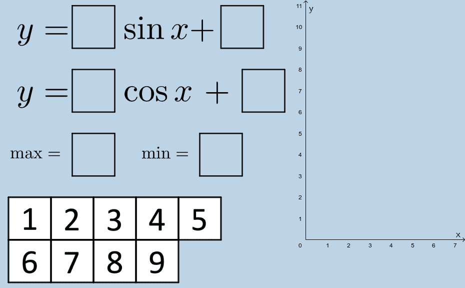 Drag number tiles in the boxes below to make all the statements above true.  Press Enter to start activity