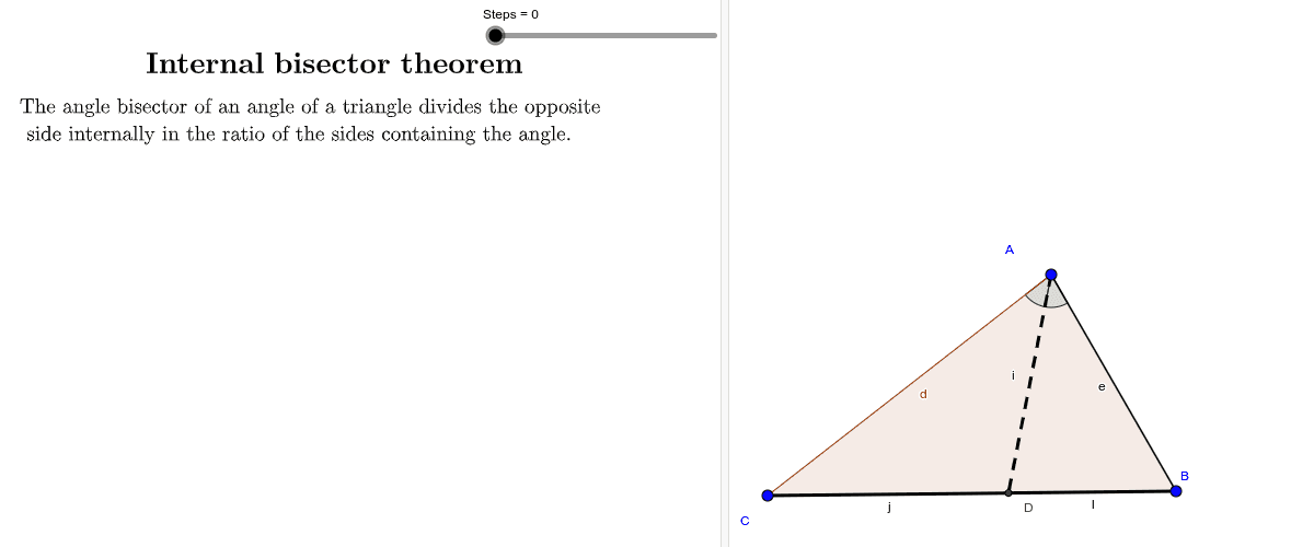 Proof of the internal bisector theorem Press Enter to start activity