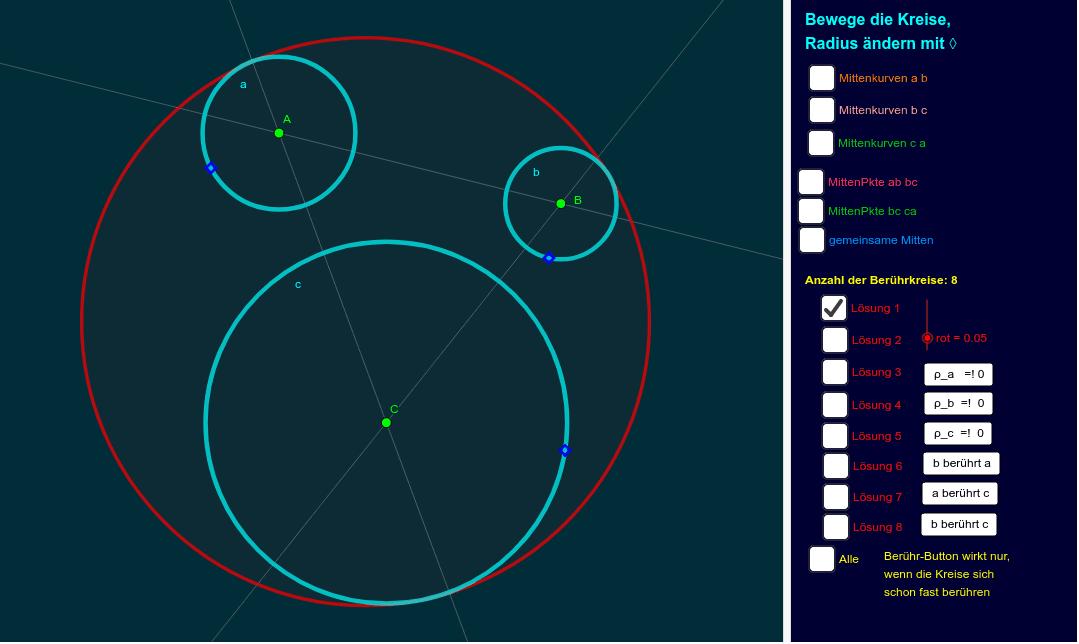 Apollonios' Problem lösen mit geogebra-Werkzeugen