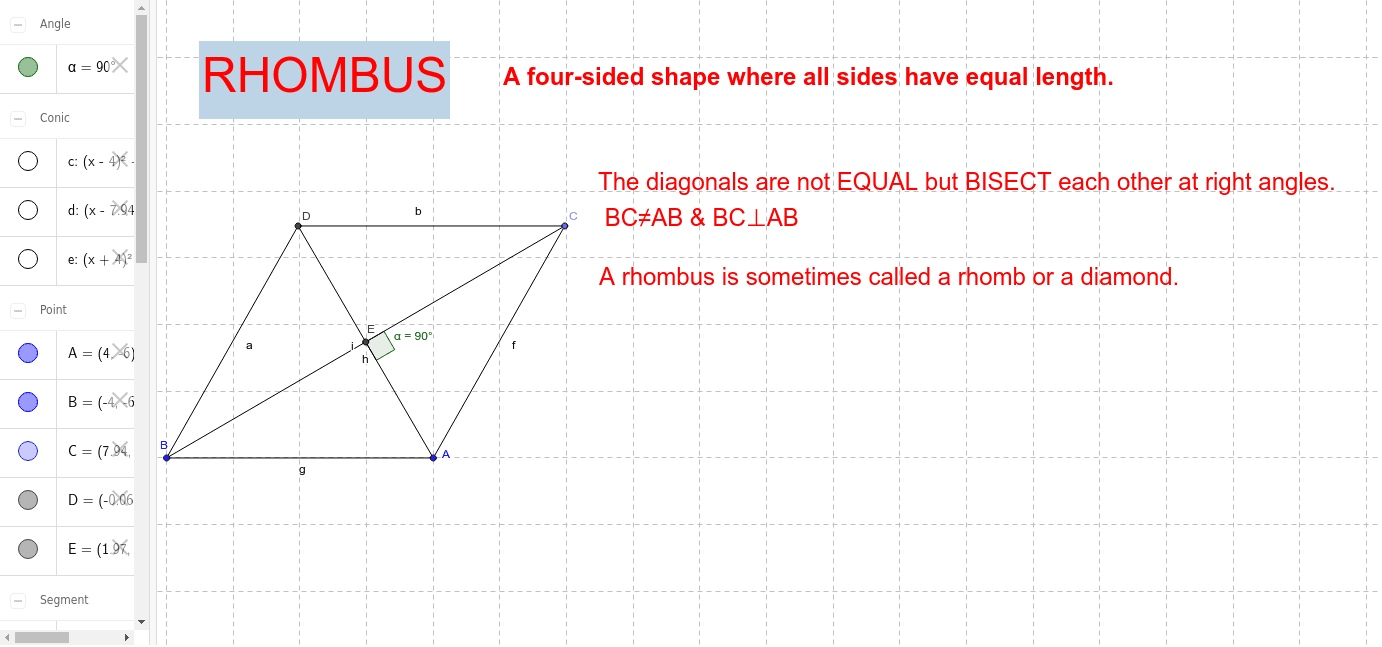 Move the corners of the rhombus to create a square Press Enter to start activity