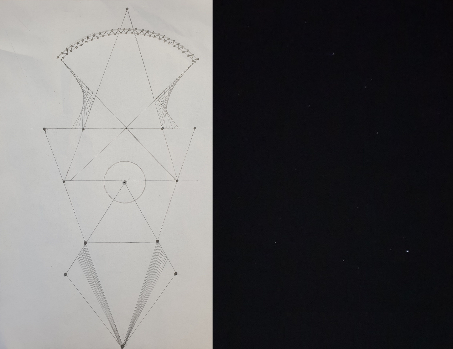 """[url=https://gradini-fractale-geometrice.webnode.ro/_files/200000044-a3078a307c/13.jpg]Proiect de gradina fractala, desenata de mine incepand de la triunghiul isoscel  inspirat din constelatia Triangulum si dezvoltata pe care am  fotografiat-o din gradina mea. Există un triunghi compus din stele  strălucitoare numit Triunghiul de Vara. Stelele componente sunt  Vega-Altair-Deneb, prima fiind a cincea stea ca strălucire de pe întreg  cerul.  Triunghiul de vară este aproximativ isoscel și se poate vedea și  în alte anotimpuri: tomana, iarna seara și primăvara dimineața. Cea mai  apropiată stea din triunghi este Altair, la 16 ani lumină, Vega fiind  situată la 25 de ani lumină de noi.  Vega și Altair au nume arabe. Prima  înseamnă """"vulturul în zbor"""" iar a doua """"pasărea"""". Deneb se traduce  """"coada"""" fiind coada lebedei, constelația Cygnus.  Triunghiul de vară  poate fi văzut mai mereu: la răsăritul și apusul Soarelui, primăvara în a  doua jumătate a nopții, vara si toamna toată noaptea. [/url]"""