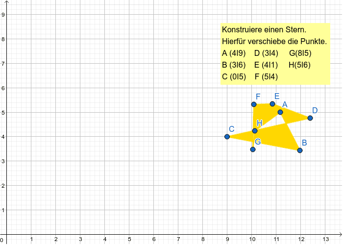 Konstruiere einen Stern durch verschieben der Punkte A-H. Drücke die Eingabetaste um die Aktivität zu starten