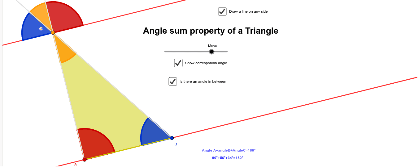 Angle sum property - Angle sum property of a triangle Press Enter to start activity