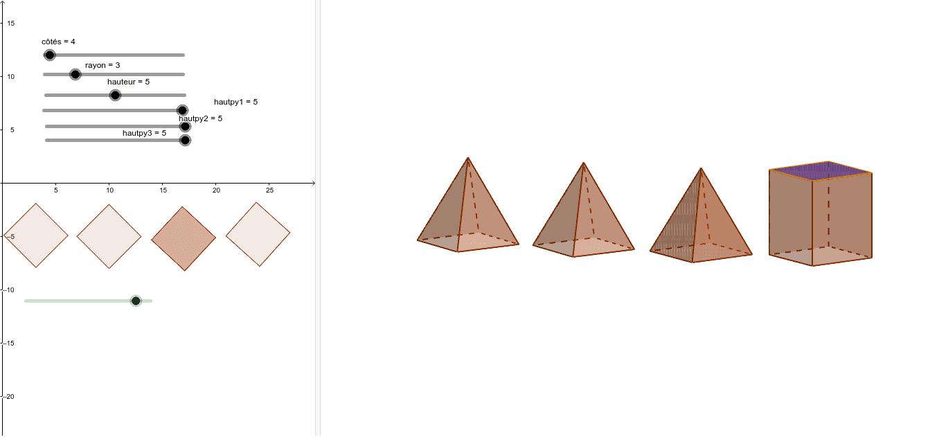 """Animer les figure ci-dessous l'aide des curseurs. En déduire une définition d'une pyramide Tapez """"Entrée"""" pour démarrer l'activité"""