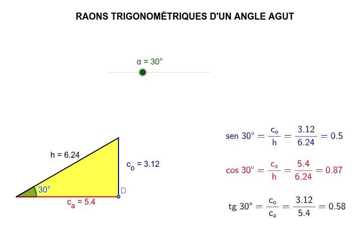 Mou el punt D sense canviar l'angle i observa les raons trigonomètriques. Canvia l'angle i torna a moure el punt D. Observa que les raons trigonomètriques són proporcions entre costats que no varien si no canvia l'angle Premeu Enter per iniciar l'activitat