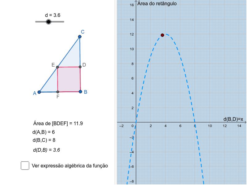 Num terreno com a forma de um triângulo retângulo [ABC], pretende-se construir um jardim retangular. Quais devem ser as dimensões do jardim para que este tenha área máxima? Pressione Enter para iniciar a atividade