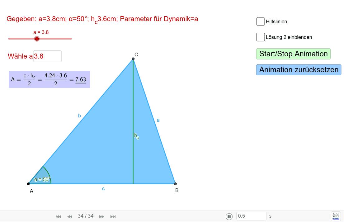 Aufgabenstellung: Konstruieren Sie alle möglichen Dreiecke aus den gegebenen Grössen