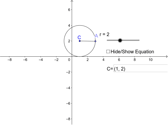 Change the ordered pair in the box to change the center C.  Change the value on the slider to change the radius of the circle.