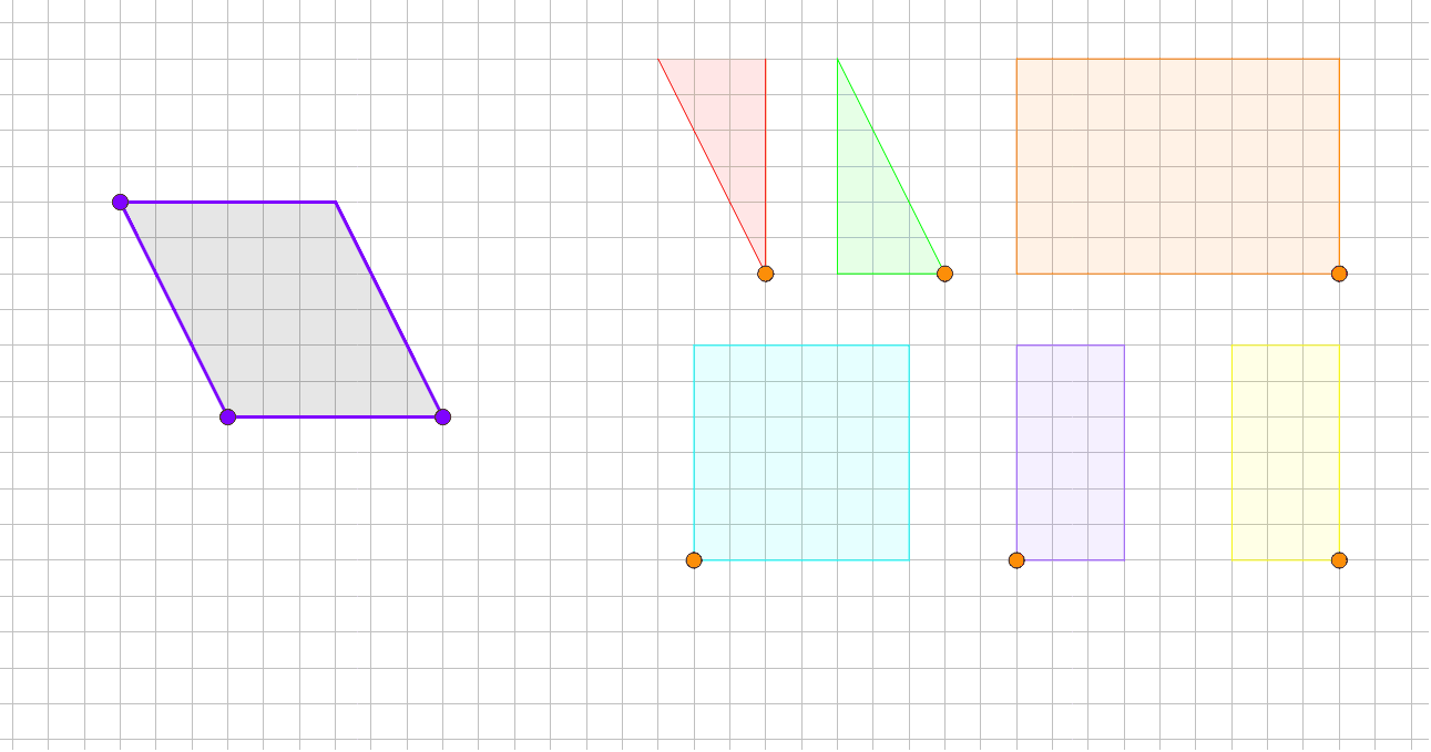 Use the orange points to drag the shapes around. Use the purple points to change the parallelogram. Press Enter to start activity