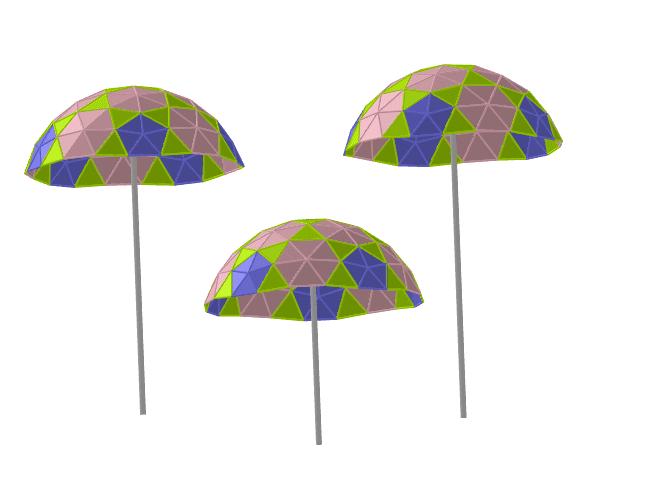 Paraguas geodésicos 4V generados a partir de un icosaedro Press Enter to start activity