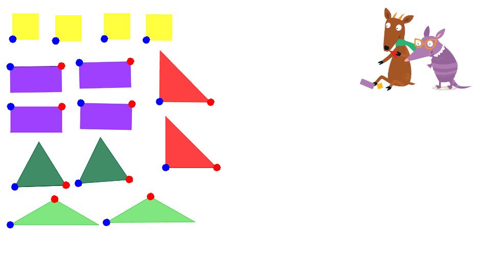 Con estas figuras, Guazuvirá quiere formar cuadrados y rectángulos. Con los puntos azules puedes arrastrar las figuras, y con los rojos puedes girarlas. Presiona Intro para comenzar la actividad