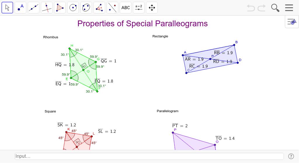 Properties Of Special Parallelograms Geogebra