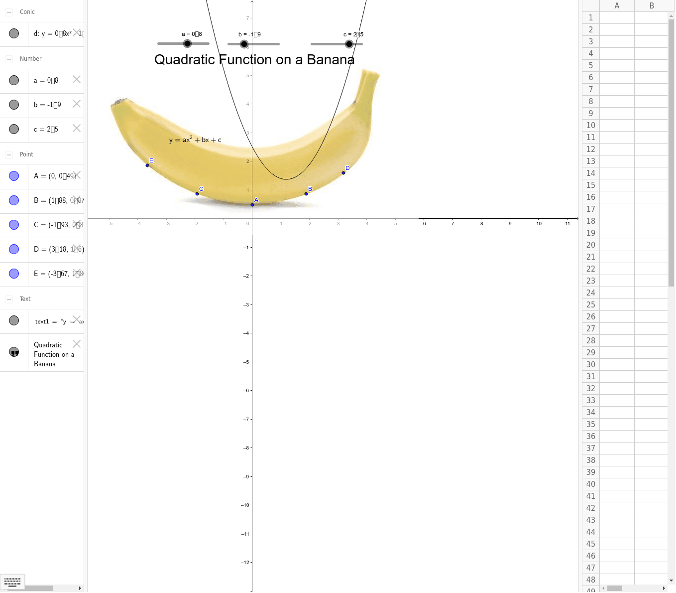 Adjust a, b & c with the sliders so that the parabolas fits the shape of the banana: it should go through A, B, C, D & E. Press Enter to start activity