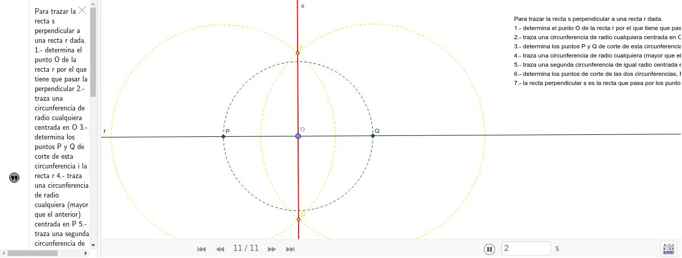 Este recurso es una guia para trazar la recta perpendicular a una recta dada que pasa por un punto de la misma. Premeu Enter per iniciar l'activitat