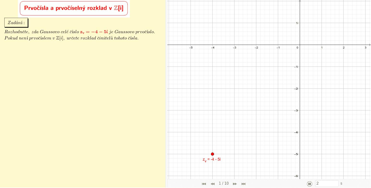 Gaussovo celé číslo z=-4-5i v komplexní rovině