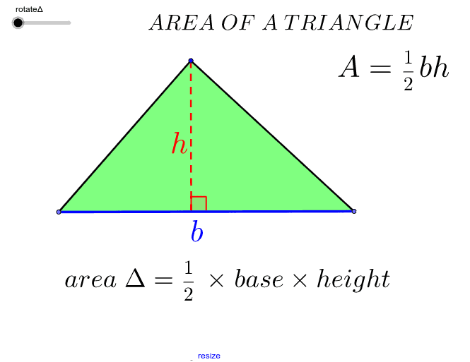 Area of a triangle Press Enter to start activity