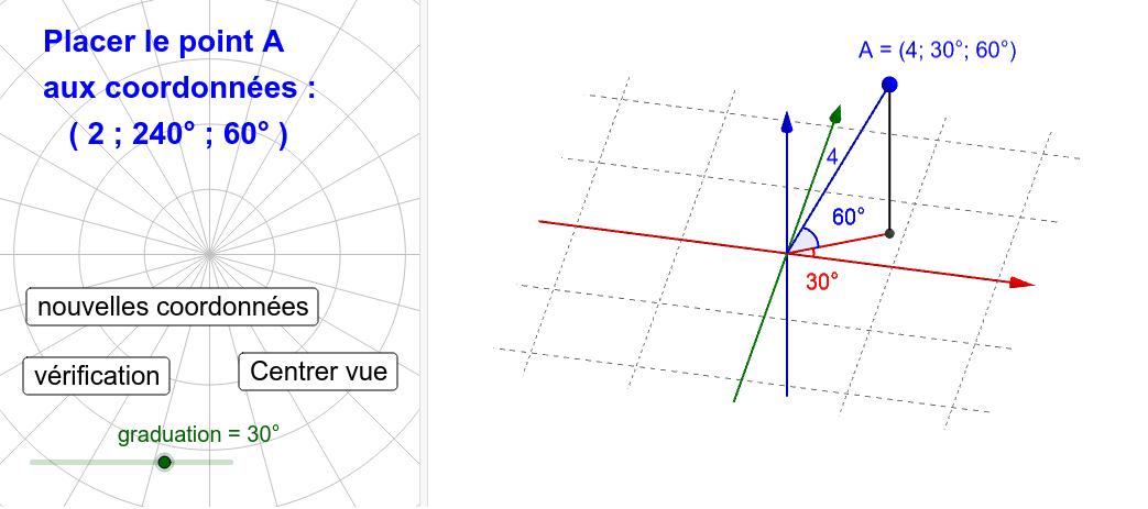 clic sur le point : choix du déplacement horizontal ou vertical