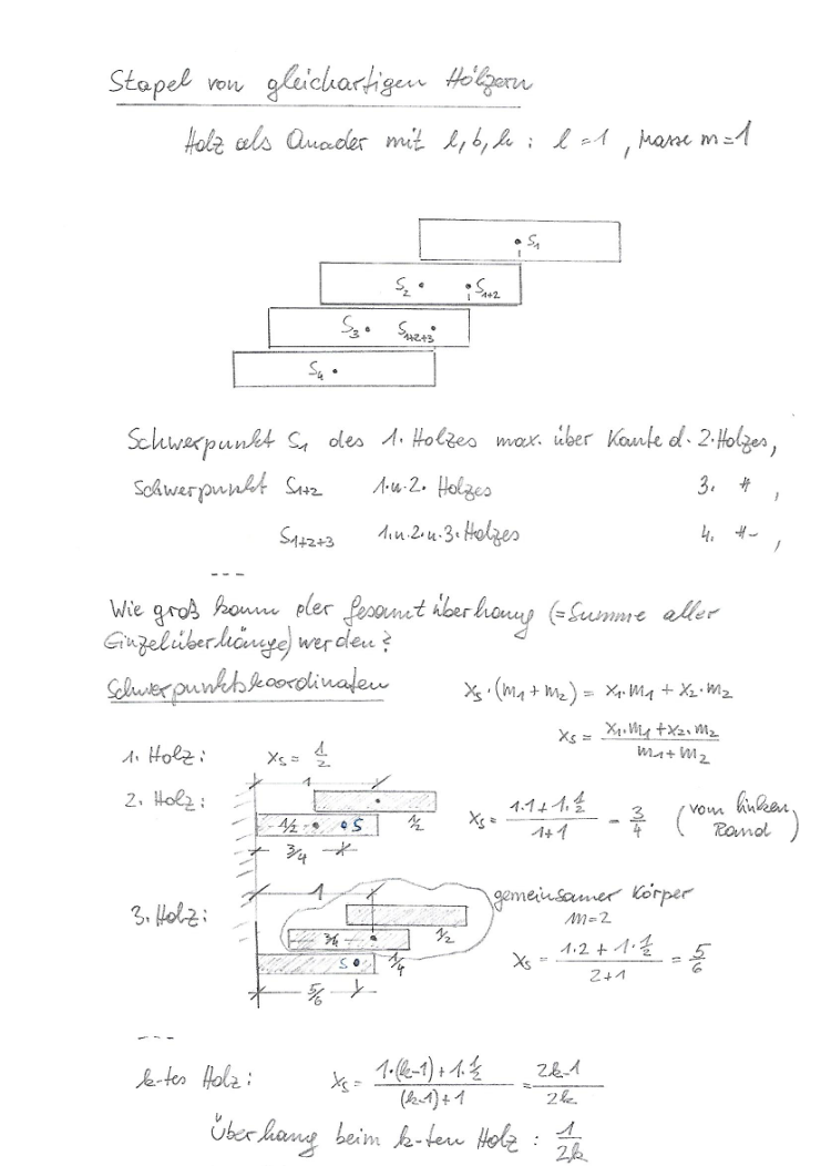 Derivation of the center of gravity coordinates (in German)