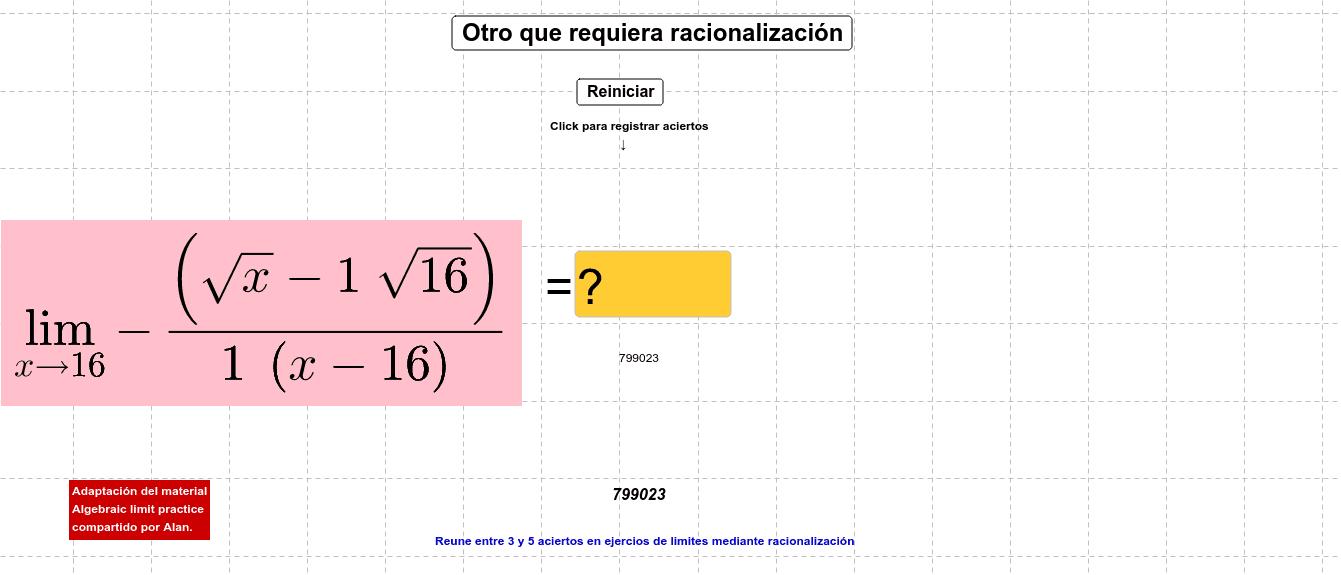Adaptación del material Algebraic limit practice compartido por Alan.