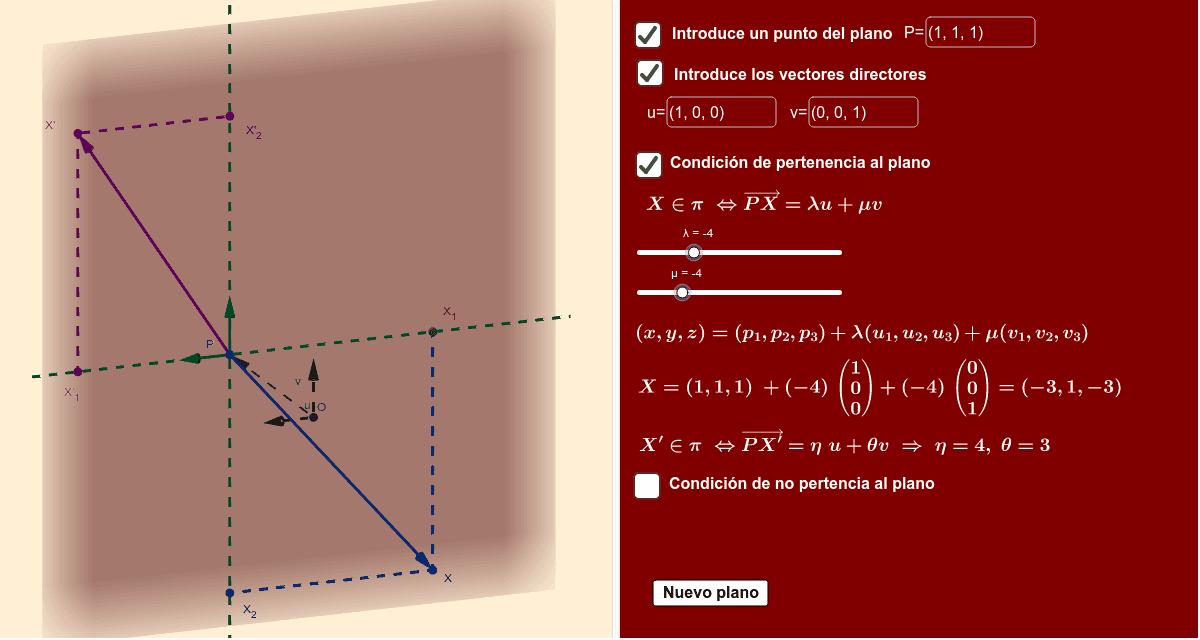 Un punto X es del plano si  PX es comb. lineal de u, v. Dados λ, μ, λu+μv nos determina un punto del plano. Recíprocamente puedes mover por el plano X'.  Recíprocamente puedes mover por el plano X'. A cada X' le corresponde un par (η,θ) con PX'=ηu+θv.