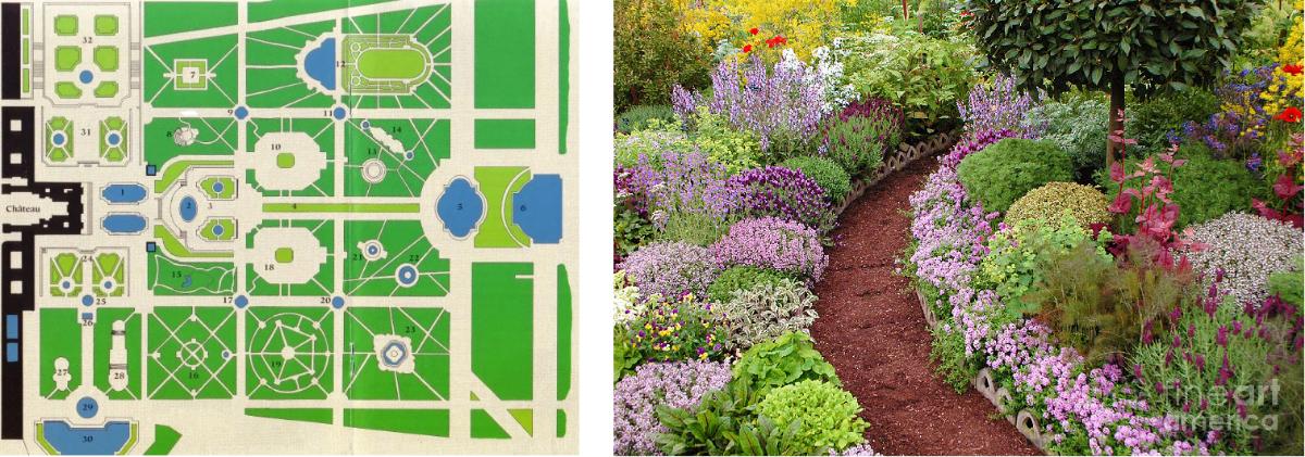 links: tuin van het paleis van Versailles als toonbeeld voor de geometrische Franse tuinen rechts: de Engelse tuinen zijn landschapstuinen zonder symmetrie en evenwicht