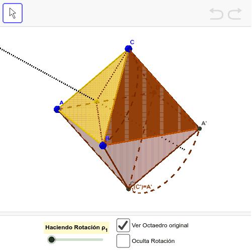 Visualización de la composición de las rotaciones respecto los centros de dos caras adyacentes en un tetraedro regular