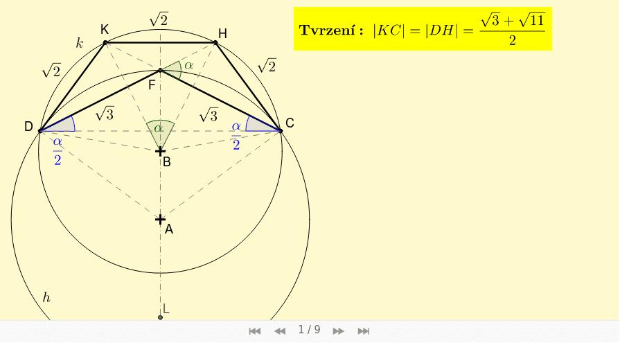 Rozbor konstrukce - část 3: Abych mohl zkonstruovat pětiúhelník CHKDF, musím znát |DH|: