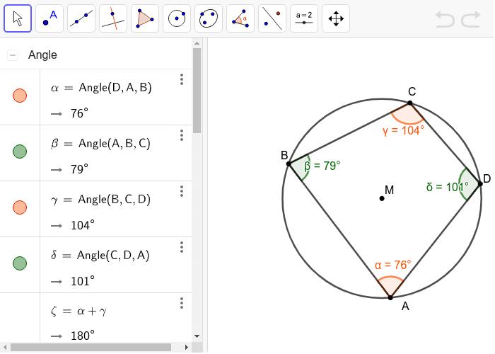 Overstaande hoeken in een koordenvierhoek. Klik op Enter om de activiteit te starten