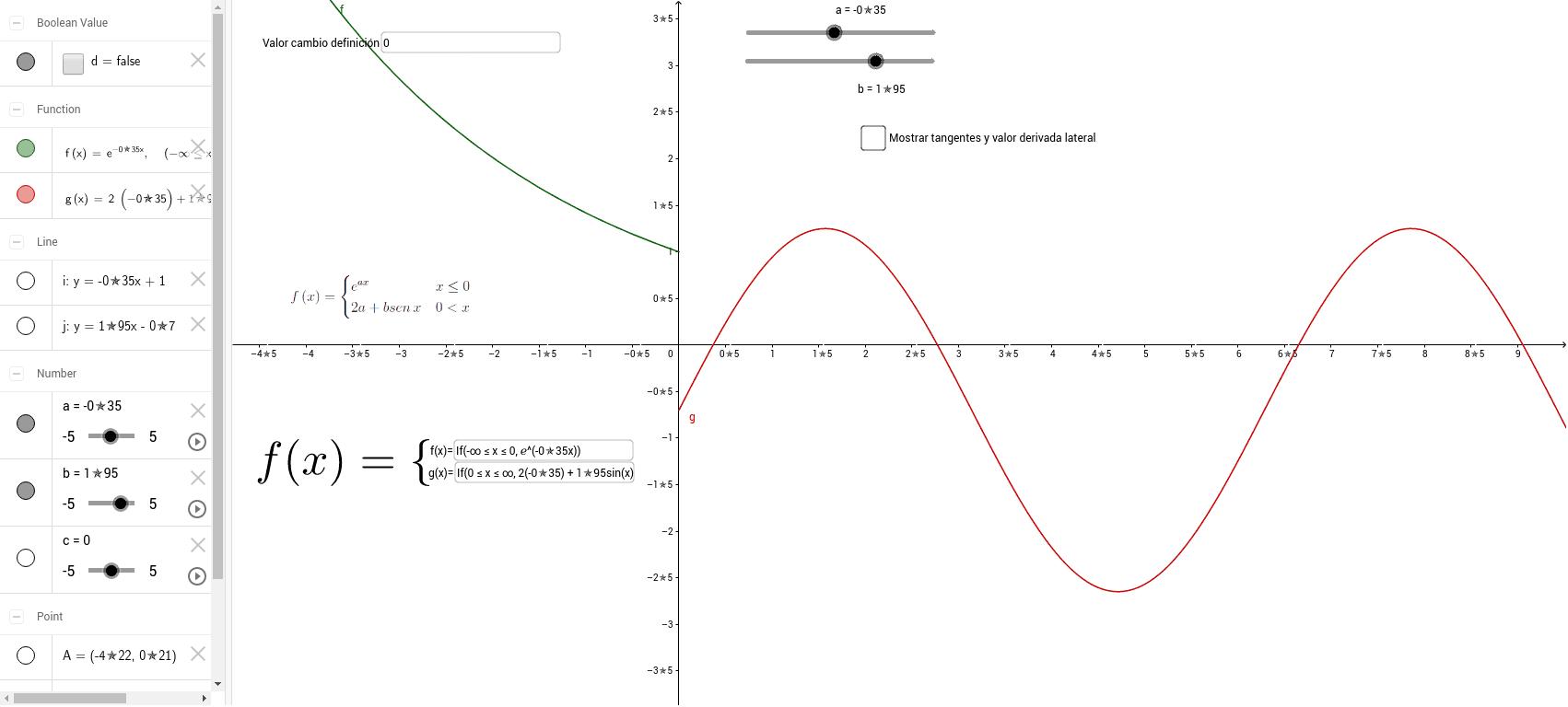Encuentra los valores de a y de b que hacen que la función definida a trozos sea continua y derivable.