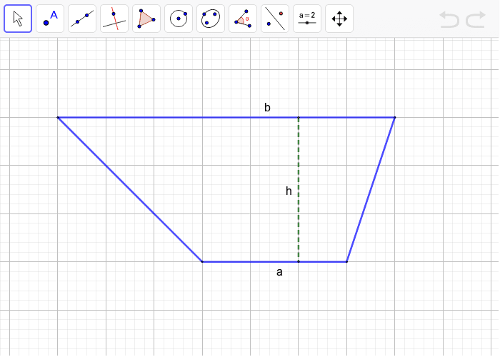 A trapezoid has bases of lengths a and b, with a distance, h, between them. Press Enter to start activity