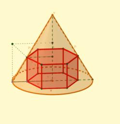Prisma hexagonal inscrito en cono