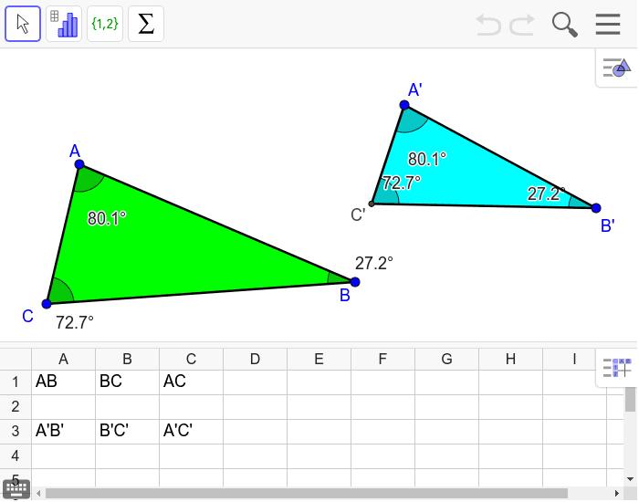 """Comment a-t-on construit le triangle A'B'C' à partir du triangle ABC ? Tapez """"Entrée"""" pour démarrer l'activité"""