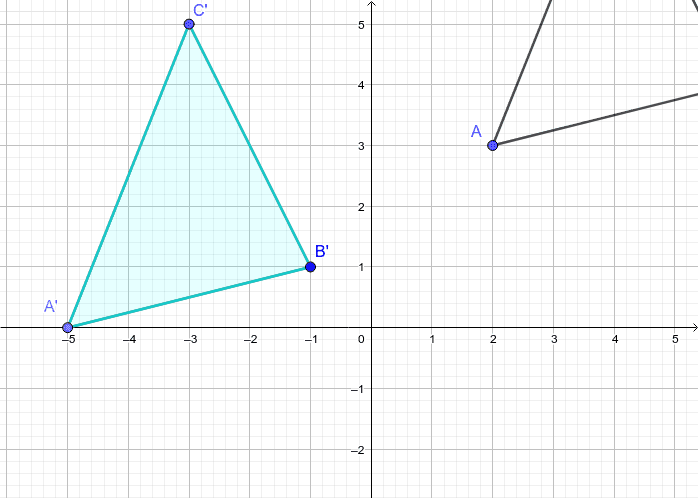 A'(-5,0) B'(-1,1) C'(-3,5) Press Enter to start activity