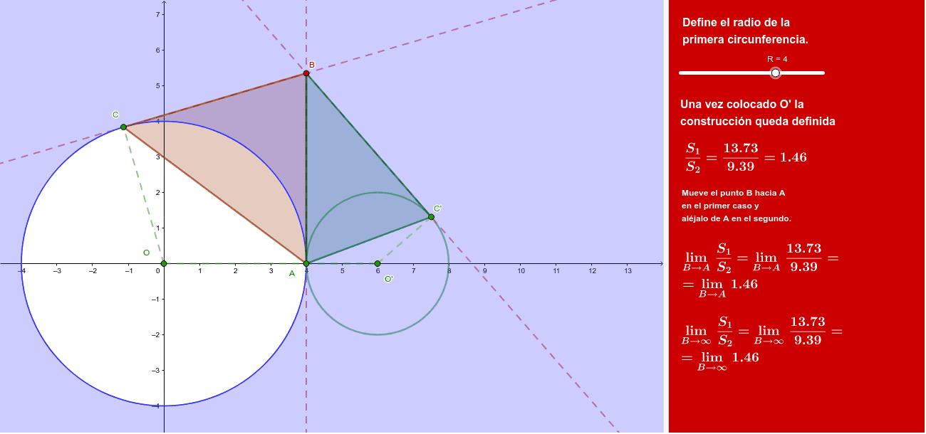 Se trata de determinar el cociente de las superficies de los triángulos cuando B tiende a A y cuando B se aleja de A.
