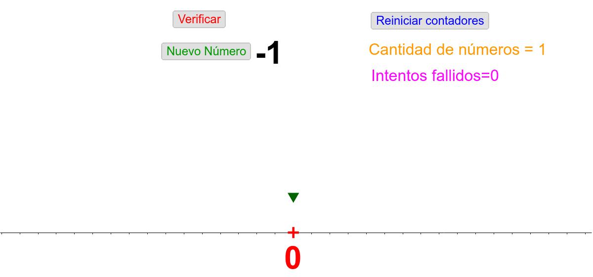 A continuación te propongo ubicar números enteros en la recta numérica. El número a ubicar es el que se encuentra de color negro.  Para realizar la tarea posicioná la flecha verde sobre el lugar correspondiente en la recta y verifica.