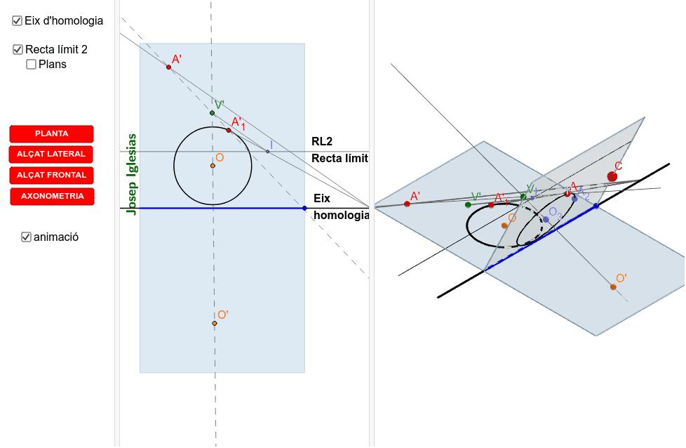 En aquest document pots veure perquè fent la homologia d'una circumferència que creua la recta límit 2 la cònica que surt és una hipèrbole.