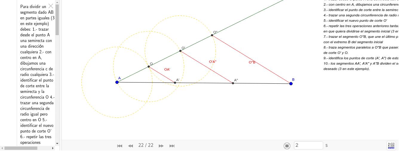 Este recurso es una guia para dividir un segmento en partes iguales, utilizando el teorema de Thales. Premeu Enter per iniciar l'activitat