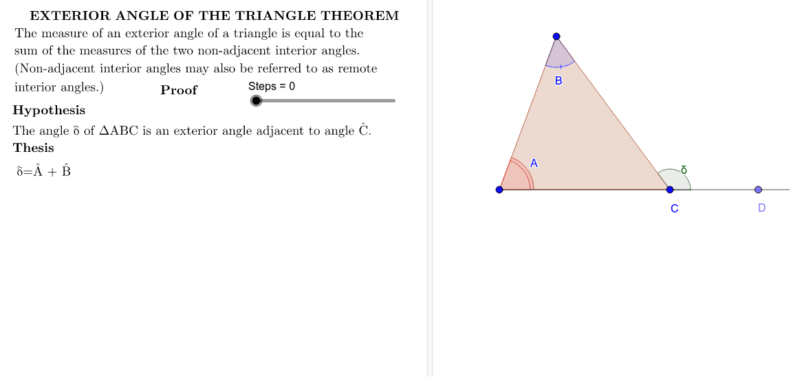 Triangle Exterior Angle Theorem Press Enter to start activity