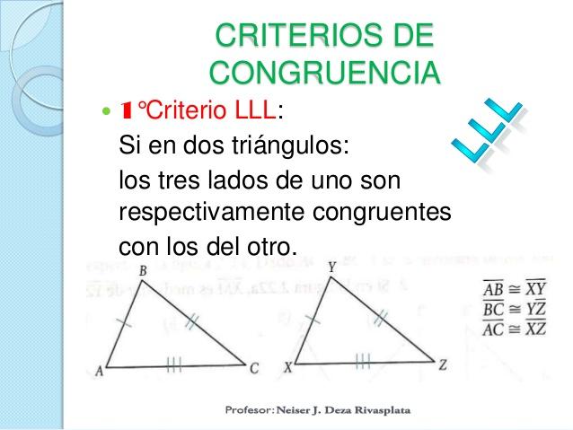 Describe los criterios de congruencia de triángulos
