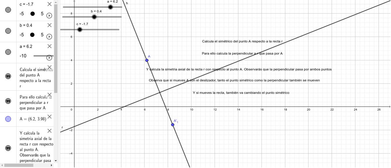 simétrico de un punto respecto a una recta Presiona Intro para comenzar la actividad
