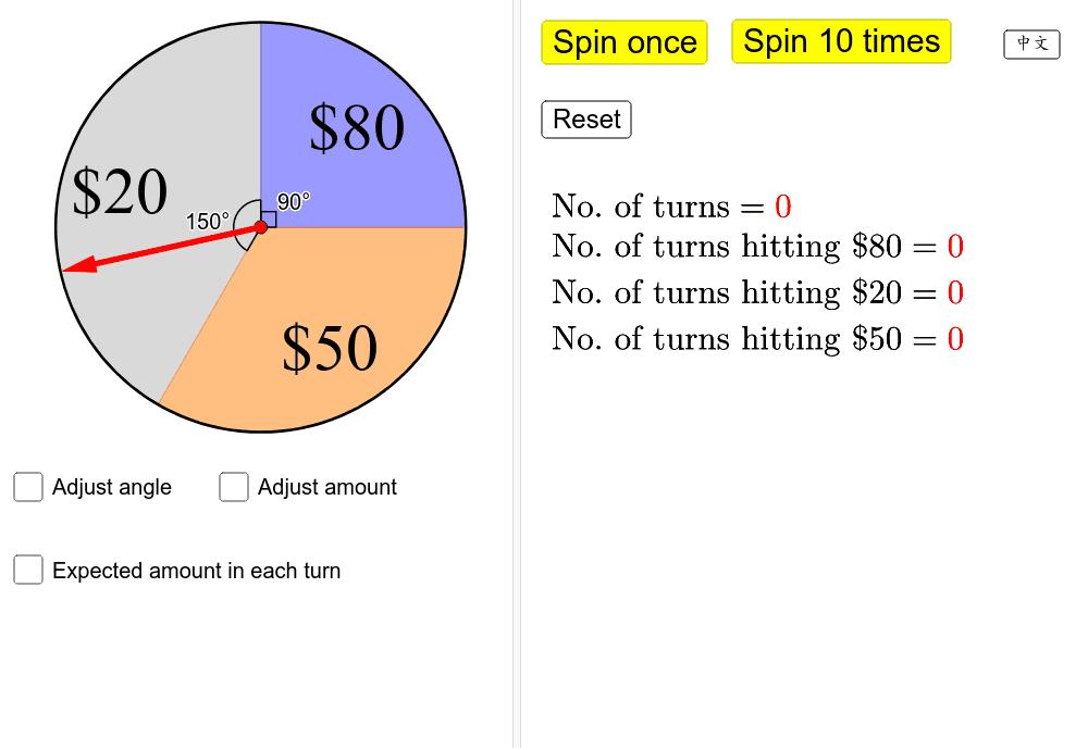 每局遊戲轉動紅色指針一次。若指針落在藍色區域可獲得較多的獎金。遊戲每局收費$50。你願意參加嗎? 按 Enter 鍵開始活動