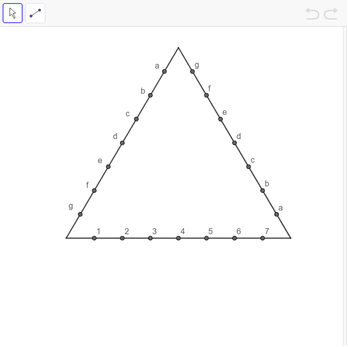 依連線規律,用直線把點連起來,製作出繡曲線圖案。(連線規律:1- a、2-b……) 按 Enter 鍵開始活動