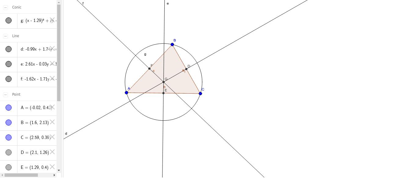 Construcción de un circulo circunscrito en un triangulo Presiona Intro para comenzar la actividad