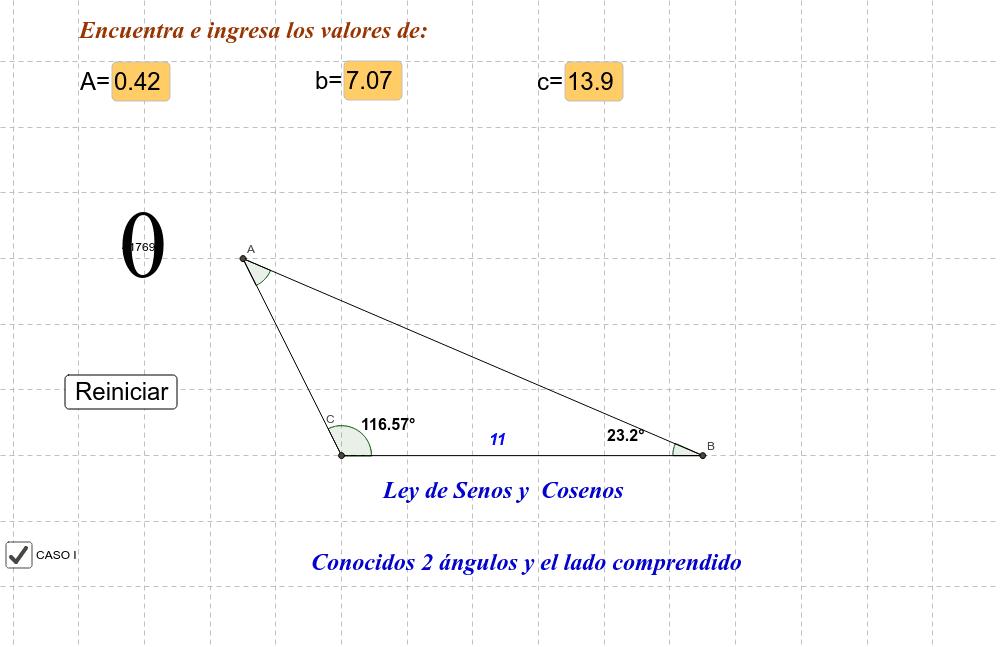 Conocidos  2 ángulos   y el lado comprendido